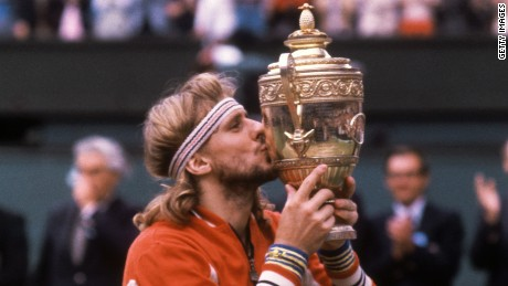Bjorn Borg with the 1980 Wimbledon trophy.