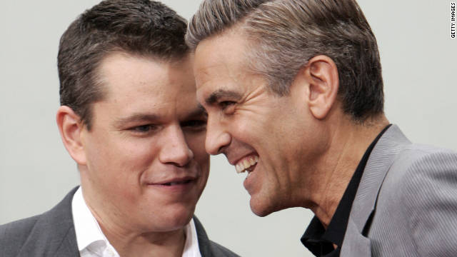 Matt Damon and George Clooney share a laugh in Hollywood in 2007.