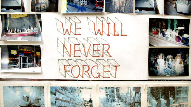 A little more than a year after 9/11, a sign in the window of a Hallmark store near ground zero had photos of the damage.