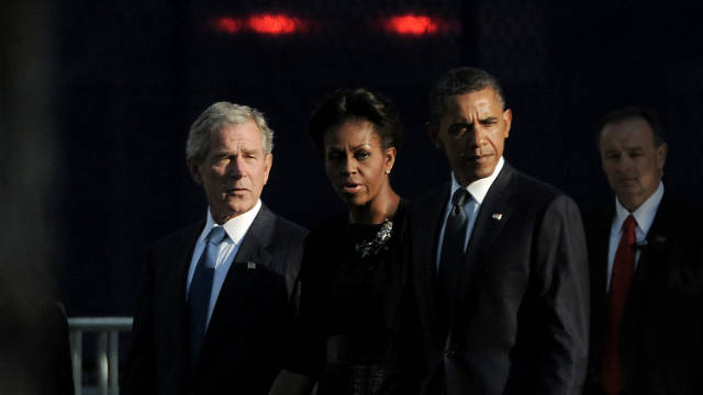 Former President George W. Bush, first lady Michelle Obama and President Barack Obama at the 9/11 Memorial in New York during the 1oth anniversary observance.