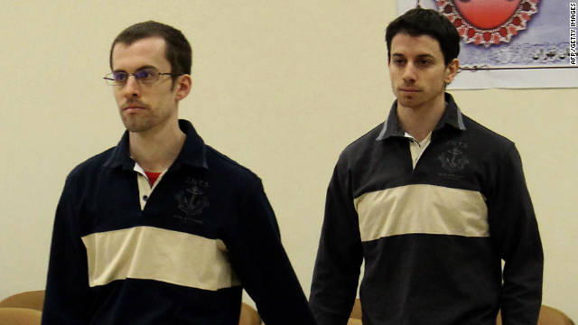 Imprisoned U.S. hikers Shane Bauer, left, and Josh Fattal arrive for their trial on spying charges in Tehran  in a photo from Iran's state-run Press TV .