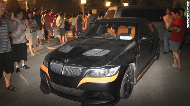The BMW reportedly driven by Li Tianyi, the son of a Chinese army general, pictured after a 2011 road rage incident