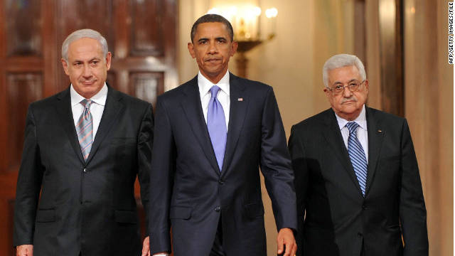 President Barack Obama with Israeli leader Benjamin Netanyahu, left, and Palestinian Authority President Mahmoud Abbas.