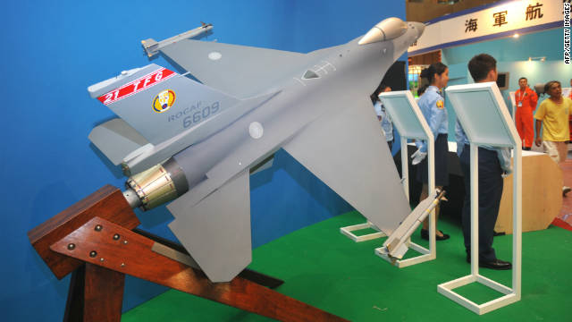 A model of a US-made F-16 fighter jet is displayed at the Taipei World Trade Centre at the opening of the Taipei Aerospace and Defence Technology Exhibition on August 10