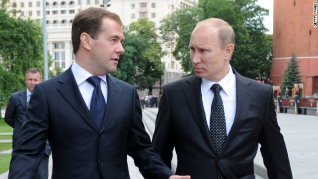 The Russian president and prime minister pictured at the tomb of the unknown soldier in June 2011.