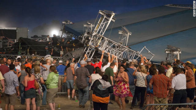 Police tapes detail stage collapse