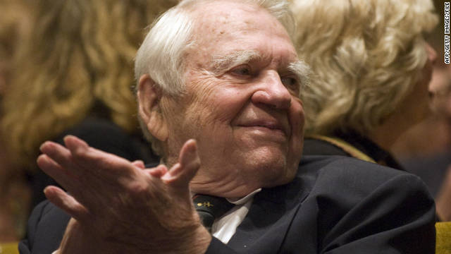 "Former ""60 Minutes"" commentator Andy Rooney, seen here in 2009, is hospitalized in stable condition."