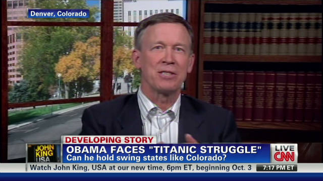 Gov. Hickenlooper: 'Gridlock helps Obama'