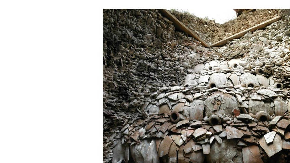 Shards of amphorae, or vases, discovered at the ancient Roman landfill known as Monte Testaccio, in Rome.