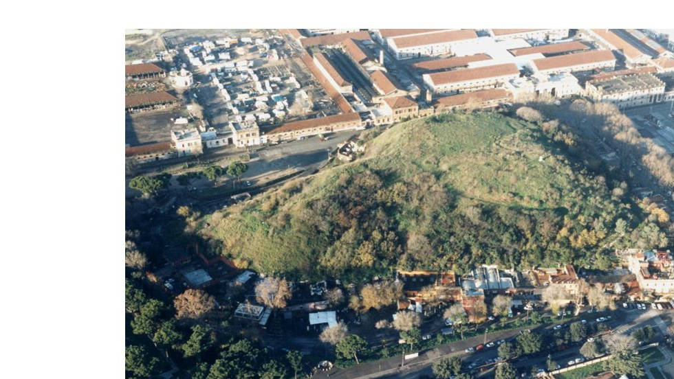 An aerial view of Monte Testaccio