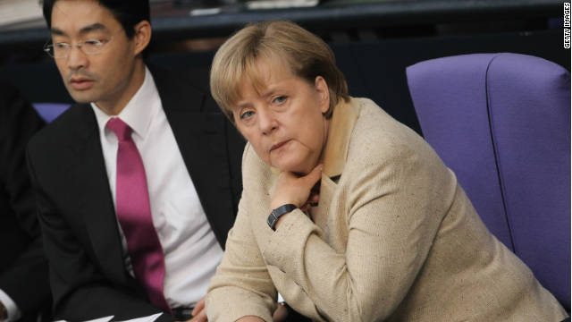 German Chancellor Angela Merkel and Economy Minister Philipp Roesler on September 29, 2011 in Berlin, Germany.
