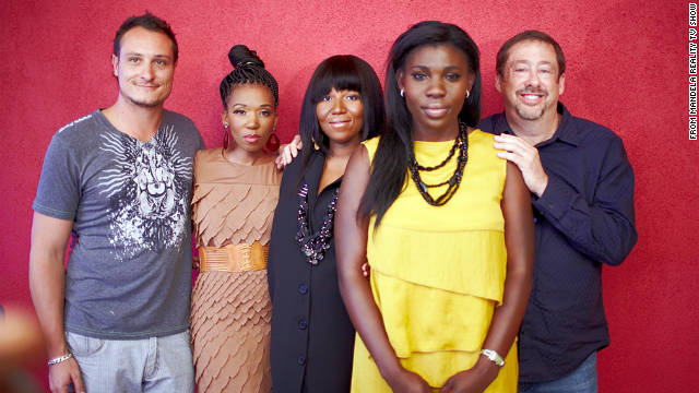 Nelson Mandela's granddaughters Swati Dlamini, Zaziwe Dlamini-Manaway and Dorothy Adjoa Amuah are flanked by producers Graham Swanepoel, left, and Rick Leed.