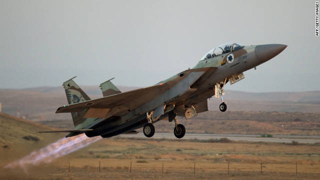 An Israeli F-15 fighter jet takes off from a base in the Negev desert on June 30, 2011.