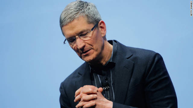 Apple's Tim Cook speaks during the iPhone announcement in January in New York.
