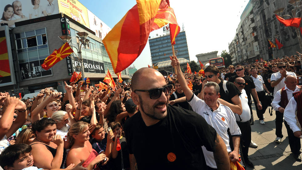 Pero Antic, captain of the Macedonia team, walks through the crowds.