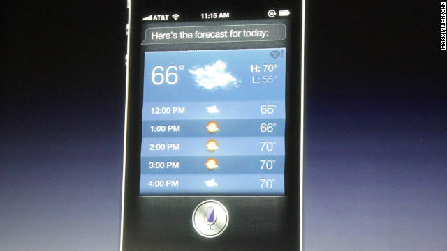 Apple demonstrates on an iPhone 4S how a verbal request to Siri about the weather will return a forecast.