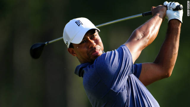 Tiger Woods hits a tee shot during the second round of the 93rd PGA Championship at the Atlanta Athletic Club in August.
