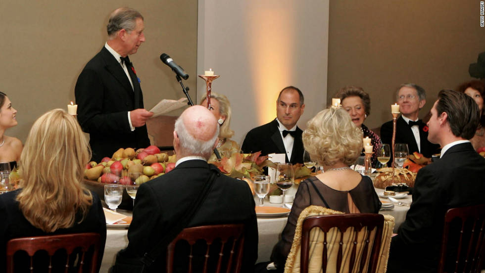 "Prince Charles speaks at a dinner for business leaders, including <a href=""http://www.cnn.com/specials/tech/steve-jobs-the-man-in-the-machine"">Jobs</a>, in November 2005 in San Francisco."