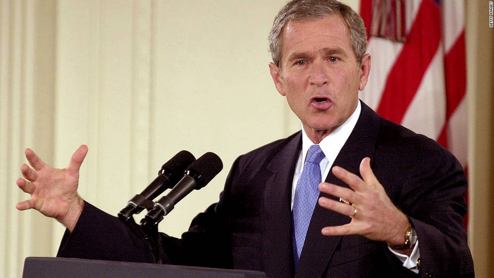 President George W. Bush responds to media questions in the East Room of the White House on October 11, 2001. It was his first prime-time press conference addressing the U.S. response to the 9/11 attacks.