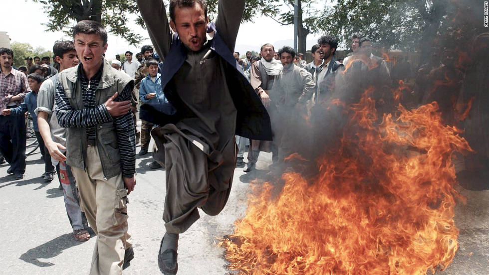 Afghan protesters chant against the U.S. during an anti-America demonstration in Kabul on May 24, 2003.