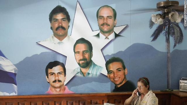 A mural in Havana of the Cuban Five, three of whom remain jailed in the U.S.