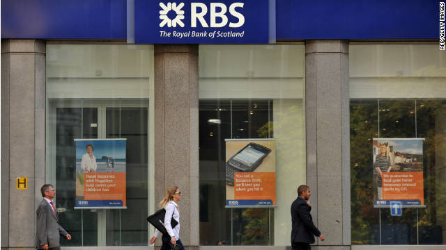 A branch of the Royal Bank of Scotland is pictured in London, on August 5, 2011.