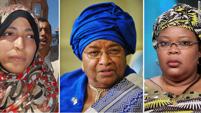 Activist Tawakkul Karman of Yemen, Liberian President Ellen Johnson Sirleaf and Liberian activist Leymah Gbowee share the 2011 Nobel Peace Prize.