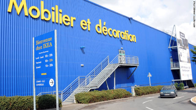 A car passes an Ikea store in northern France, where small explosives detonated in May.