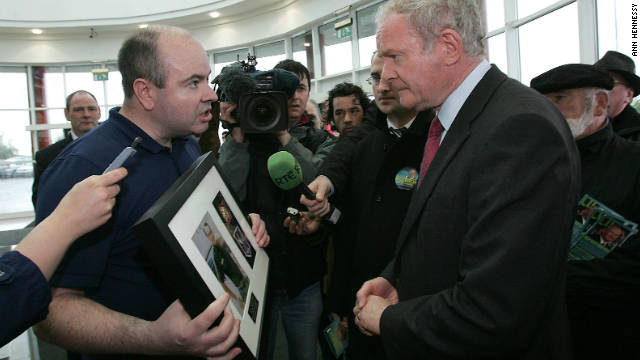 David Kelly confronts Sinn Fein presidential candidate Martin McGuiness demanding he name his father's killers.
