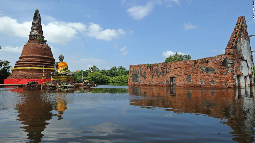 One of a number of UNESCO World Heritage sites in Ayutthaya province is inundated by floodwaters on October 10, 2011.