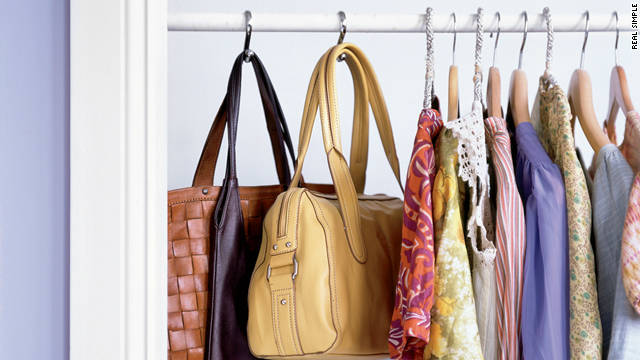 Solve your purse storage dillema with a few S-hooks.