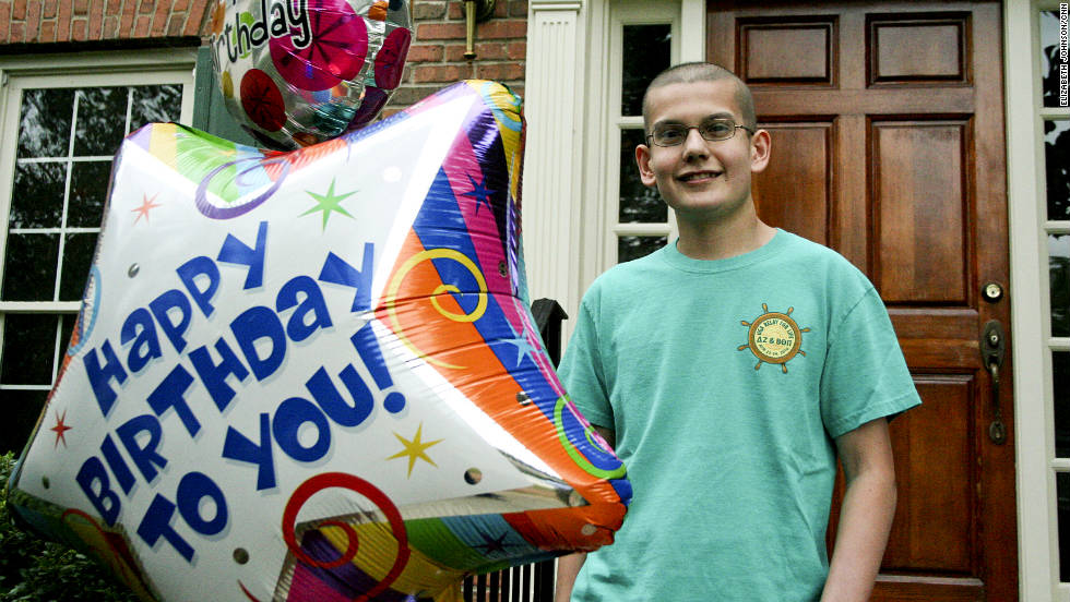 Del Valle, 16, poses outside his Georgia home with birthday balloons, just days after his 16th birthday.