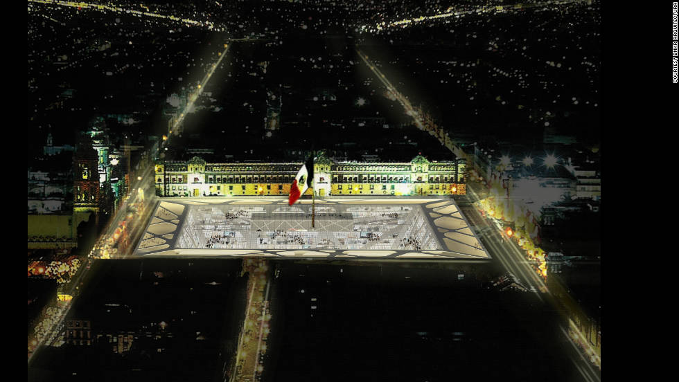 "A night-time view of Mexico City's central plaza, commonly known as the ""Zocalo,"" re-envisaged to incorporate the ""Earthscraper."""