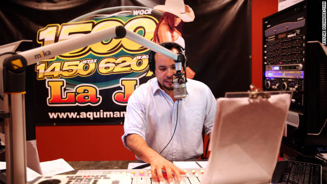 Jose Antonio Castro is an on-air personality at La Jefa, a Pelham, Alabama, radio station that helped publicize the protest.