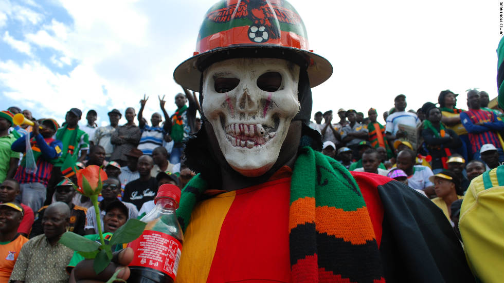 Zambia's fans gather at the Nchanga Stadium hours before kick off. The sound of vuvuzelas is deafening.