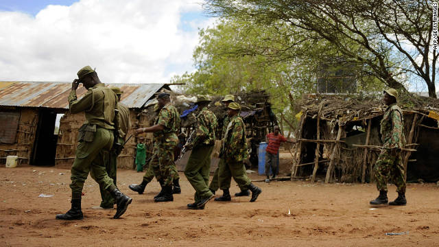 Kenyan security forces search for two missing aid workers at a village near near Liboi, Kenya's border town with Somalia on October 15.