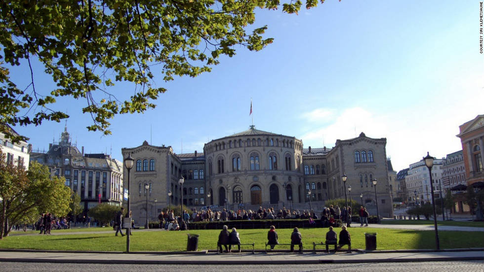 Protesters gather outside a government building in Norway for Occupy Oslo on Saturday.