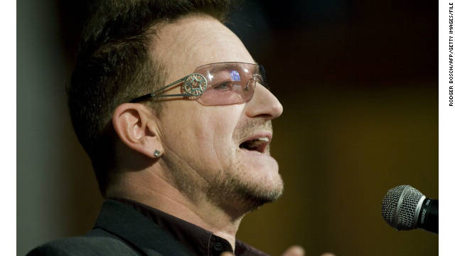 File picture of Bono, co-founder of global advocacy organization ONE and lead singer of Irish rock band U2.