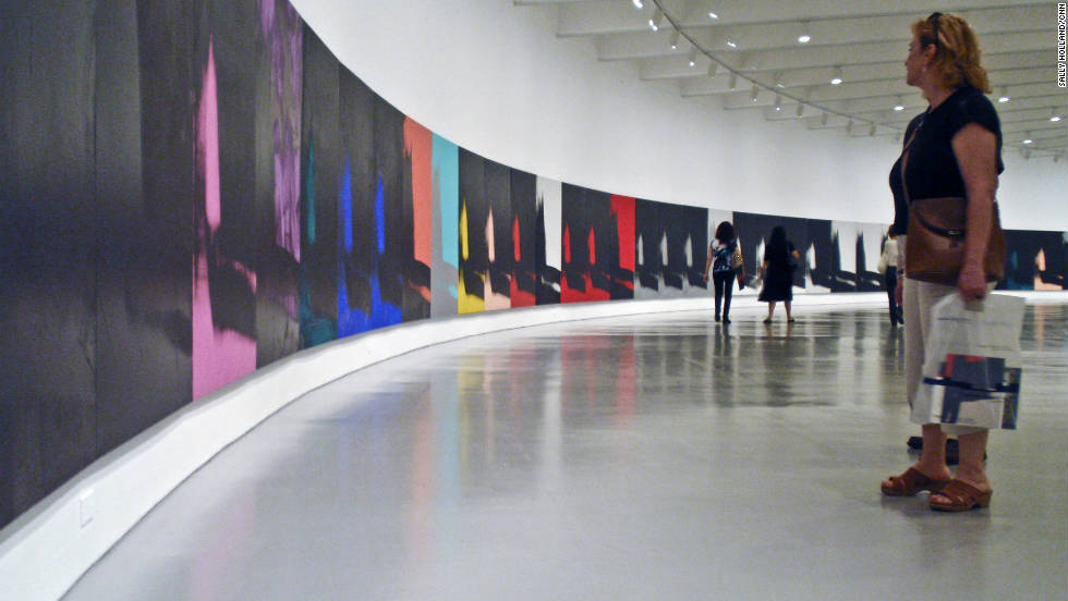 "The Andy Warhol painting ""Shadows,"" which is longer than a football field, is on exhibit at the Hirshhorn Museum in Washington."