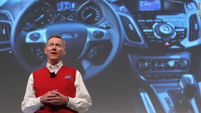 Alan Mulally, CEO of Ford Motor Co., presents the new Ford Sync system on March 1, 2011 in Hanover, Germany.