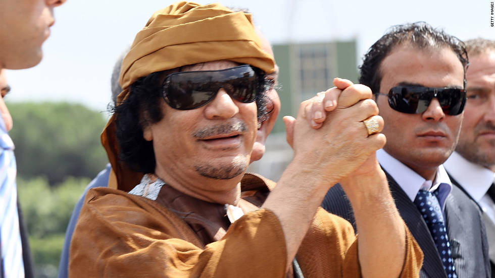 Gadhafi arrives in Italy for talks with Prime Minister Silvio Berlusconi in August 2010.