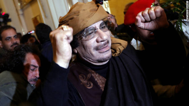 Questions surround the circumstances of the death of former Libyan leader Moammar Gadhafi, pictured here in March.