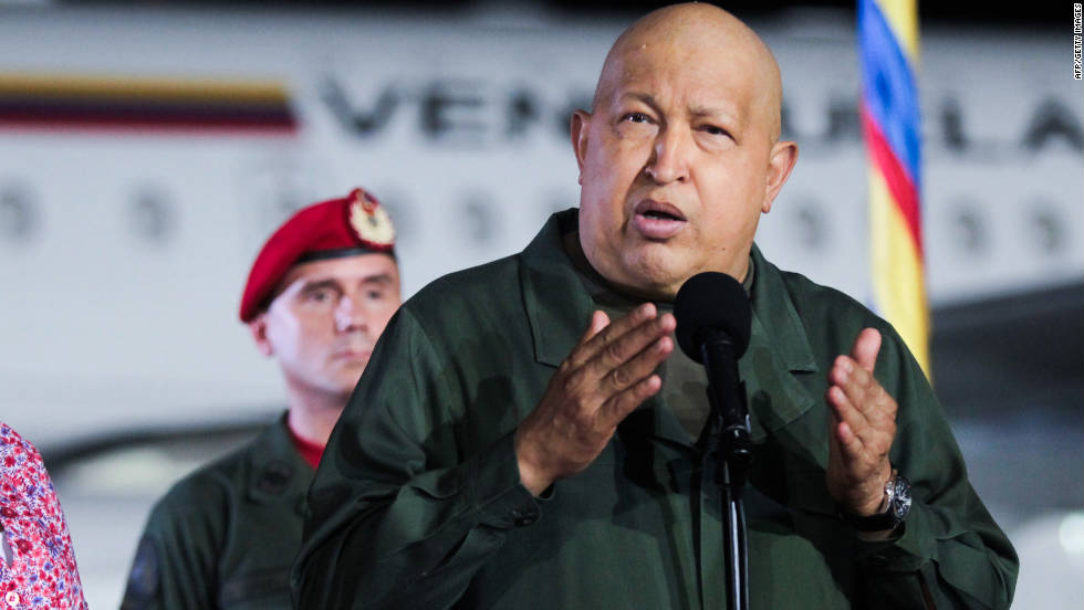 File photo of Venezuelan President Hugo Chavez delivering a speech in 2011.