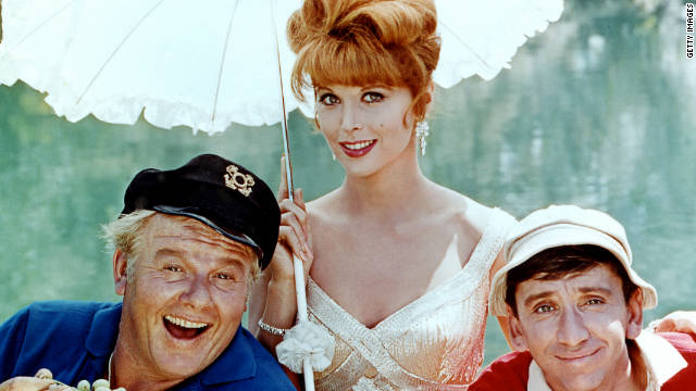 From left to right, Alan Hale Jr. (1921 - 1990) as The Skipper, Tina Louise as Ginger Grant and Bob Denver (1935 - 2005) as Gilligan in the television series 'Gilligan's Island', circa 1964.