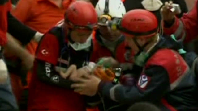 Baby rescued from earthquake rubble