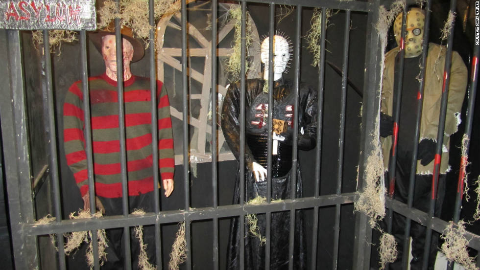 Creepy movie characters are kept in Haunted Hollow's insane asylum.