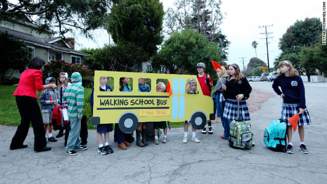 "Students ""ride"" the Grand View Elementary Walking School Bus in Manhattan Beach."
