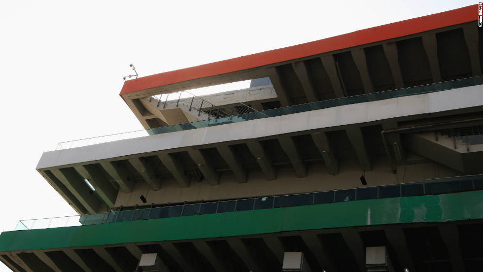 "The so-called ""stairway to heaven"" at the Race Control building has caused some bemusement -- the staircase goes off the edge of the roof."