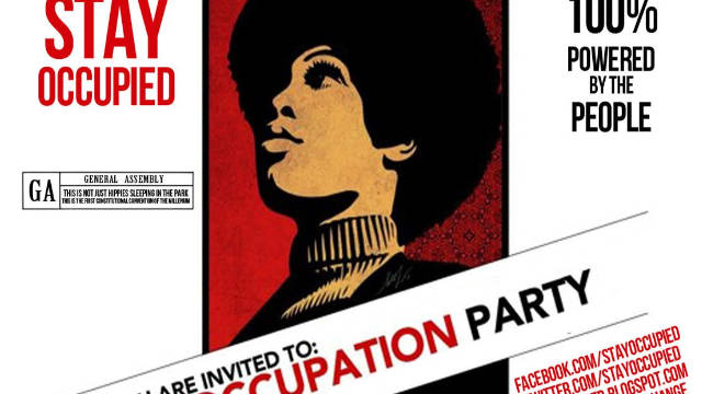 An Occupy Wall St. invitation designed by Shepard Fairey to draw people to an Occupy party in Times Square earlier this month