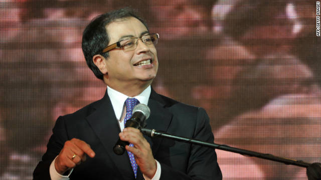 The leftist Gustavo Petro delivers a speech after being elected new mayor of Bogota, Colombia, on Sunday.